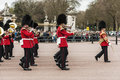 Queen s guards london april parade of outside buckingham palace on april in london Royalty Free Stock Photography