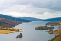 Queen s view beautiful lake and countryside queens in scotland showing the large loch lush Stock Image