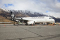 Queen town newe zealand september air new zealand plane prepa preparing to flight at airport in south island on Stock Image