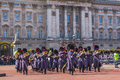 Queens Guards Musicians outside Buckingham Palace Royalty Free Stock Photo