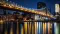 Queensboro bridge at dusk new york ny june ed koch on june in new york ny the spans the east river between manhattan and Royalty Free Stock Photography