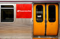 Queensland rail brisbane aus sep train door have million customer journeys on the city network south east Stock Photo