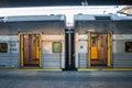 Queensland rail train aus dec door have million customer journeys on the city network south east per Stock Photo