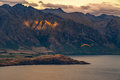 Paragliding over Queenstown and Lake Wakaitipu from viewpoint at Queenstown Skyline, New Zealand Royalty Free Stock Photo