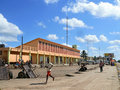 Quelimane mozambique december street in the village road which moves on different transport Royalty Free Stock Photos