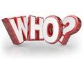 Quem pergunta mark wondering surprise da palavra d Imagens de Stock Royalty Free