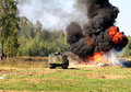 Quenching of the fire self propelled robot device is going to put out flames Royalty Free Stock Images