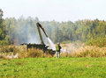 Quenching of the fire self propelled robot device puts out flames Royalty Free Stock Photo