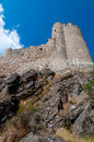 Quertinheux tower and stone mountain sight from bottom at lastou lastours in france Stock Image