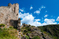 Quertinheux tower and walls on great landscape at lastours in france Royalty Free Stock Images