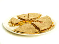 Quesadilla with chicken and maze under oatmeal tortilla Stock Photography