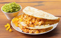 Quesadilla with guacamole sauce Royalty Free Stock Photo