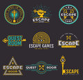 Quest room and escape game logo set. Royalty Free Stock Photo