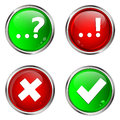Question answer and check mark buttons with web Stock Photo