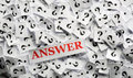 Question answer of marks on white papers hard light Stock Photos