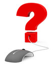 The question d generated picture of a red mark and a pc mouse Stock Photography