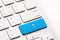 Question enter button key on white keyboard Royalty Free Stock Photo