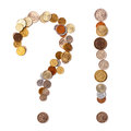 Question exclamation marks coins different countries white background Stock Photography