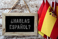 Question hablas espanol? do you speak Spanish? Royalty Free Stock Photo