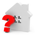 The question house d generated picture of a white and a red mark Royalty Free Stock Photos