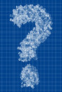 Question mark blueprint Stock Photos
