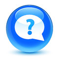 Question mark bubble icon glassy cyan blue round button