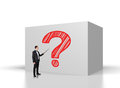 Question mark businessman points on the pointer to Royalty Free Stock Photo