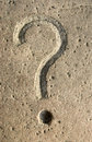 Question mark carving on stone Stock Photo