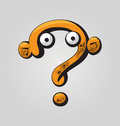 Question mark childish confused with big eyes and funny face expressions Royalty Free Stock Images