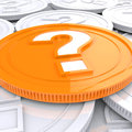 Question mark coin shows speculation showing about finances Stock Images