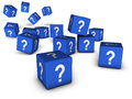 Question mark concept marks and internet faq with symbol on blue cubes on white background Stock Photo