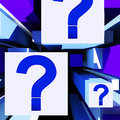 Question mark on cubes shows uncertainty or confusion Royalty Free Stock Images