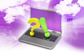 Question mark with exclamation mark with laptop in color background Stock Photography