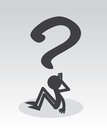 Question mark figure sitting thinking Royalty Free Stock Photos