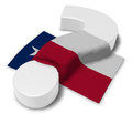 Question mark and flag of texas