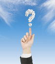 Question mark hand pointing to Royalty Free Stock Photos