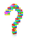 Question mark made of blocks construction toy Stock Photo