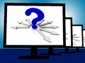 Question mark on monitors showing enquiries and uncertainty Stock Photo