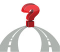 Question mark and network of roads Stock Photography