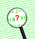 Question Mark revealed in computer code through a magnifying gla Royalty Free Stock Photo