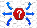 Question mark sign with arrows in red hexagon and blue opposite directions d cellular structure concept image Stock Photography