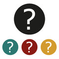 Question mark sign icon. Help speech bubble symbol. FAQ sign. Round colourful 4 buttons. Vector