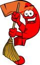 Question mark sweeping with broom