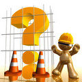 Question mark under construction funny 3d icon Royalty Free Stock Image