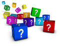 Question marks cubes and internet faq concept with symbol on colorful on white background Stock Photography