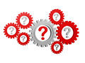 Question-marks in gearwheels Royalty Free Stock Images