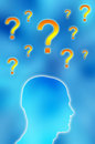 Question marks and male head Royalty Free Stock Image
