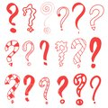 Question marks red. Graphic faq, ask. Vector question. Isolated symbol. abstract. Hand drawn set doodle question mark