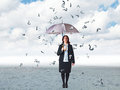 Question rain businesswoman with umbrella and mark Royalty Free Stock Photography