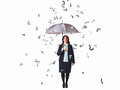 Question rain businesswoman with umbrella and mark on white Royalty Free Stock Photography